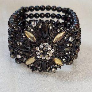 LOFT Yellow Black Rhinestone Stretch Bracelet #915